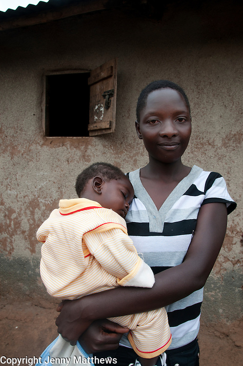 Uganda 2011. Home of Nassimboa Harriet , 17 , raped by her uncle, now has baby Jacqueline, and HIV positive