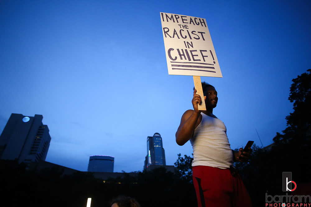 Protestors gather during an anti white-supremacy rally at Dallas City Hall plaza on Saturday, Aug. 19, 2017. (Photo by Kevin Bartram)