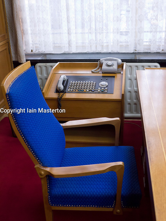 Desk of former Minister of State Security or STASI Erich Mielke at the former STASI or state secret police headquarters now museum in Berlin Germany