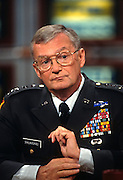 Chairman of the Joint Chief General John Shalikashvili on NBC's Meet the Press September 8, 1996 in Washington, DC.