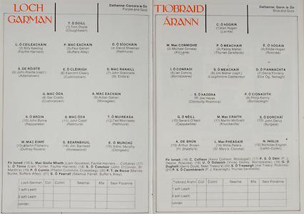 All Ireland Senior Hurling Championship - Final,.07.09.1980, 09.07.1980, 7th September 1980,.Galway 2-15, Limerick 3-9,.07091980ALSHCF,..Wexford Minor Team, Tom Doyle, Cloughbawn, Billy Keeling, Faythe Harriers,  Paul Gahan, Buffers Alley, David Sheehan, Rathnure, John Roche captain, Adamstown, Eamonn Cleary, Cushinstown, John Grennells, St Enda's, Ger Coady, Cushinstown, Aidan Gahan, Monageer, John Byrne, Rapparees, John Codd, Rathnure, Ted Morrissey, Rathnure, Martin Fitzhenry, Duffrey Rovers, Jim Barnwell, Horeswood, Edno Murphy, ..Tipperary Minor Team, Ken Hogan, Lorrha, Michael Conway, Kilruane, Paddy Maher, Thurles Sarsfield, Eddie Hogan, Roscrea, Ian Conroy, Borrisokane, Jim Maher captain, Loughmore-Castleiney, Denis Finnerty, Eire Og Nenagh, Joe Hayes, Clonoulty, Rosmore, Phillip Kenny, Borrisoleigh, Gerard O'Neill, Cappawhite, Martin McGrath, Knockavilla, John Darcy, Burgess, Arthur Brown, Fr Sheehy's, Willie Peters, St Mary's Clonmel, NIcholas English, Lattin Cullen, ..Subs, Kevin Collison, Moneygall, PJ Deane, Roscrea, Vivian Dooley, Borrisokane, G O Dughall, Joe Treacy, Roscrea, P J Kavanagh, Thurles Sarsfield,