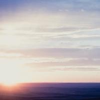 sun setting prairie