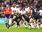 Fijian lock Leone Nakarawa pushes towards the line late in the first half during the Autumn International Series match between England and Fiji at Twickenham, Richmond, United Kingdom on 19 November 2016. Photo by Ian  Muir.