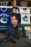 PENTICTON, CANADA - SEPTEMBER 8: Jim Benning, GM of the Vancouver Canucks addresses the media at a press conference to announce a 6 year contract extension for Horvat on September 8, 2017 at the South Okanagan Event Centre in Penticton, British Columbia, Canada.  (Photo by Marissa Baecker/Shoot the Breeze)  *** Local Caption ***