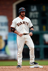 SAN FRANCISCO, CA - MAY 26: Stephen Vogt #21 of the San Francisco Giants stands on second base after hitting a double against the Arizona Diamondbacks during the ninth inning at Oracle Park on May 26, 2019 in San Francisco, California. The Arizona Diamondbacks defeated the San Francisco Giants 6-2. (Photo by Jason O. Watson/Getty Images) *** Local Caption *** Stephen Vogt