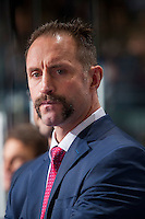 KELOWNA, CANADA - NOVEMBER 26: Kelowna Rockets' head coach, Jason Smith, stands on the bench against the Regina Pats on November 26, 2016 at Prospera Place in Kelowna, British Columbia, Canada.  (Photo by Marissa Baecker/Shoot the Breeze)  *** Local Caption ***