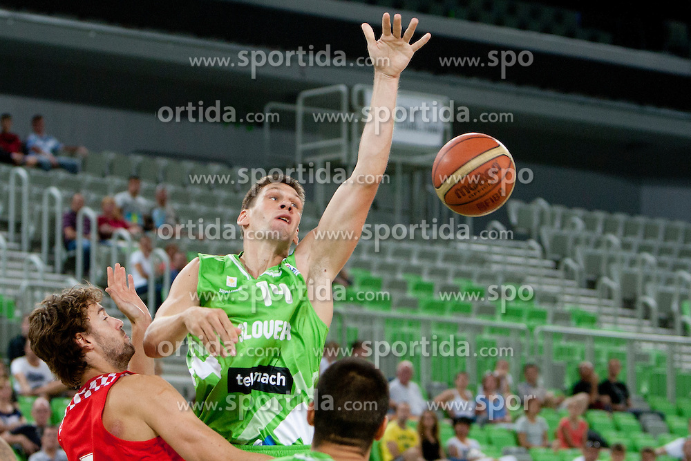 Gasper Vidmar of Slovenia during friendly basketball match between National teams of Slovenia and Croatia of Adecco Ex-Yu Cup 2012 as part of exhibition games 2012, on August 4, 2012, in Arena Stozice, Ljubljana, Slovenia. (Photo by Matic Klansek Velej / Sportida)