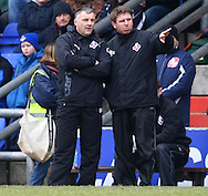Oldham - Saturday February 26th, 2010 :  Oldham Manager Dave Penney and assistant during the Coca Cola League One match at Boundary Park, Oldham. (Pic by Paul Chesterton/Focus Images)..