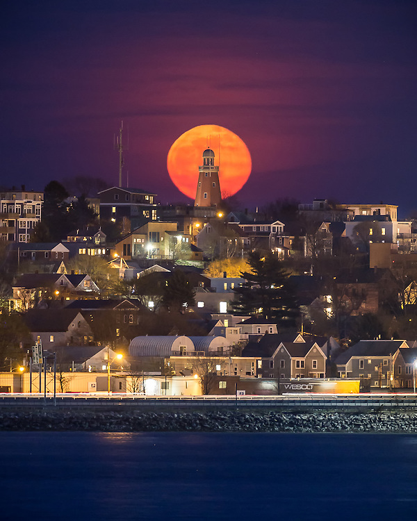 Full Moon Behind The Portland Observatory