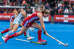 Sarah Evans of Great Britain Women drives into the circle during the 2019 Women's FIH Pro League match at Lee Valley Hockey Centre, Stratford<br /> Picture by Simon Parker/Focus Images Ltd <br /> 18/05/2019