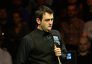 20.02.2016. Cardiff Arena, Cardiff, Wales. Bet Victor Welsh Open Snooker. Ronnie O'Sullivan versus Joe Perry. Ronnie O'Sullivan looks disappointed with his position.