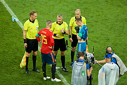 MOSCOW, RUSSIA - Sunday, July 1, 2018: Spain's Sergio Ramos and Russia's goalkeeper Igor Akinfeev toss up to choose an end for the penalty shoot out with referee Bjorn Kuipers during the FIFA World Cup Russia 2018 Round of 16 match between Spain and Russia at the Luzhniki Stadium. (Pic by David Rawcliffe/Propaganda)