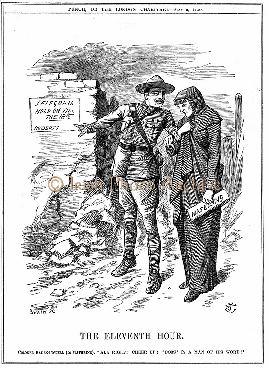 Robert Stephenson Smyth Baden-Powell (1857-1941)  British soldier, founded Boy Scouts (1908), Girl Guides (1910) and Wolf Cubs (1916). In 2nd Boer War he won fame as the defender of Mafeking. Desperate times before relief of Mafeking by Lord Roberts, 19 May 1900.