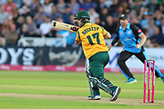 Ben Duckett of Nottinghamshire Outlaws runs a single during the Vitality T20 Blast North Group match between Nottinghamshire County Cricket Club and Worcestershire County Cricket Club at Trent Bridge, West Bridgford, United Kingdon on 18 July 2019.