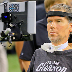Sep 20, 2015; New Orleans, LA, USA; Steve Gleason a former member of the New Orleans Saints currently suffering from ALS is seen on the sideline before a game against the Tampa Bay Buccaneers at the Mercedes-Benz Superdome. Mandatory Credit: Derick E. Hingle-USA TODAY Sports