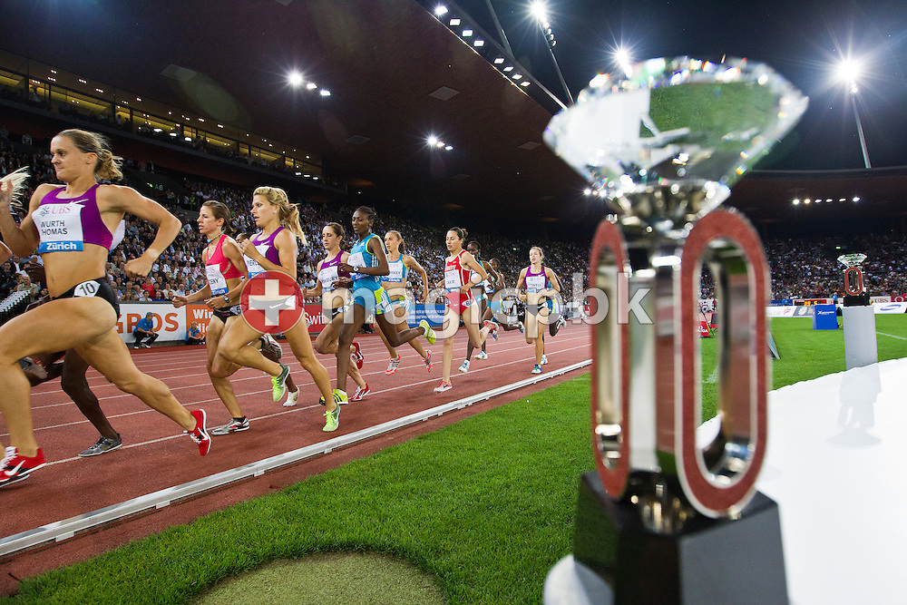 A Diamond League Trophy is pictured while athletes compete in the women's 1500m during the IAAF Diamond League meeting at the Letzigrund Stadium in Zurich, Switzerland, Thursday, Aug. 19, 2010. (Photo by Patrick B. Kraemer / MAGICPBK)