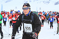 Start of the northernmost ski marathon in the world outside Longyearbyen on Spitsbergen island in April; Svalbard, Norway.