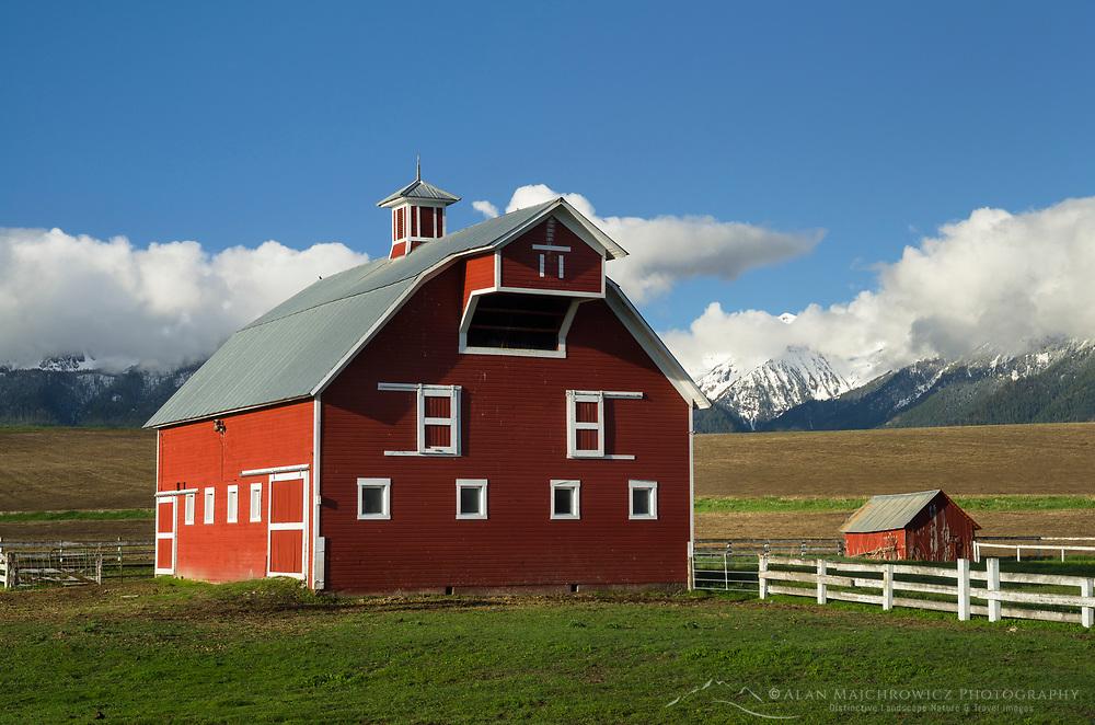 Red Barn Wallowa Valley, near Joseph Oregon, Wallowa Mountains in the background.