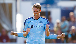 Yorkshire's Steven Patterson celebrates taking the wicket of Essex's Ravi Bopara for 8 during the One Day Cup, Quarter Final at the Cloudfm County Ground, Essex.