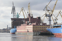 April 27, 2018 - Saint Petersburg, Russia - 'Academician Lomonosov' - floating nuclear power plant with two nuclear reactors with a capacity of 35 megawatts each. The station should go to the city of Pevek. The vessel is built on shipyards in St. Petersburg 27 april 2018  (Credit Image: © Valya Egorshin/NurPhoto via ZUMA Press)