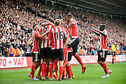 Southamptons Virgil Van Dijk makes it 2-0 during the Barclays Premier League match between Southampton and Leicester City at the St Mary's Stadium, Southampton, England on 17 October 2015. Photo by Adam Rivers.