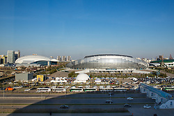 View on Saryarqa Republican Cycle Track (left), Astana Arena (middle) and Ledovyy Dvorets Alau (right) from Barys Arena at IIHF World Championship DIV. I Group A Kazakhstan 2019, on May 4, 2019 in Barys Arena, Nur-Sultan, Kazakhstan. Photo by Matic Klansek Velej / Sportida