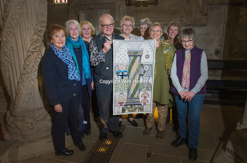 FREE PICTURE FOR GREAT TAPESTRY OF SCOTLAND PUBLICITY. TO ACCOMPANY PRESS RELEASE.<br /> <br /> The Roslin stitching group of the Great Tapestry of Scotland showcase the replacement for the Rosslyn chapel panel that was stolen in September 2015<br /> <br /> l-r<br /> Anne Beedie, Jean Lindsay, Dorie Wilkie, Andrew Crummy, Margaret Humphries, Jinty Murray, Fiona Macintosh, Pip Peat, Barbara Stokes<br /> <br /> picture by Alex Hewitt<br /> alex.hewitt@gmail.com<br /> 07789 871 540