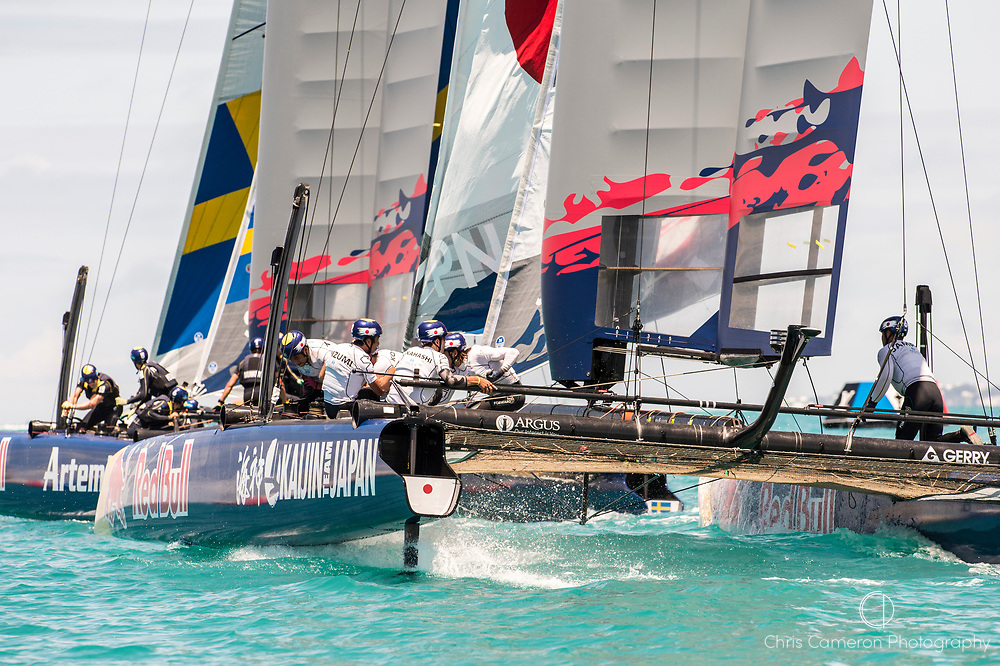 Great Sound, Bermuda. 15th June 2017. Red Bull Youth America's Cup. Race 1 of Qualifier 2 (Group A). Kaijin Team Japan.