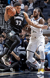 October 31, 2018 - Minneapolis, MN, USA - The Minnesota Timberwolves' Karl-Anthony Towns (32) drives against the Utah Jazz' Jae Crowder in the first quarter at the Target Center in Minneapolis on Wednesday, Oct. 31, 2018. (Credit Image: © Carlos Gonzalez/Minneapolis Star Tribune/TNS via ZUMA Wire)
