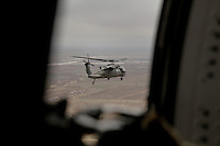American Black Hawk helicopters in convoy over Kandahar, in southern Afghanistan