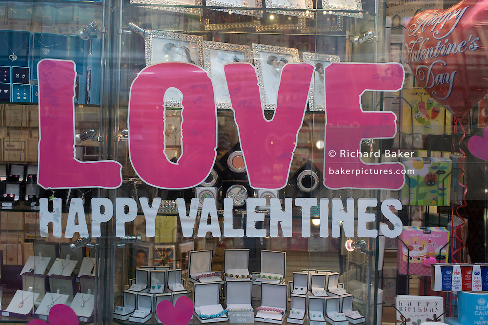 A valentines Day merchandise retail window in the City of London.