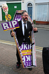 © Licensed to London News Pictures. 03/06/2017<br /> Labour protester outside Townley Hall.<br /> Nigel Farage speaking at a UKIP public meeting in Ramsgate,Kent at Townley Hall in support of UKIP Thanet candidate REV Stuart Piper.<br /> Photo credit: Grant Falvey/LNP