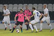 Scotland's James Jones take son Estonia's Morten Kuusk - Scotland under 21s v Estonia international challenge match at St Mirren Park, St Mirren. Pic David Young<br />  <br /> - © David Young - www.davidyoungphoto.co.uk - email: davidyoungphoto@gmail.com
