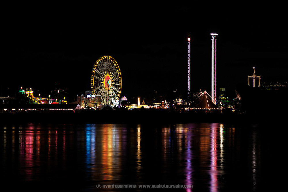 The Rheinkirmes, or Biggest Funfair on The Rhine, is a seasonal amusement park constructed on the banks of the River Rhine every summer in Düsseldorf, Germany. Drawing over four million visitors, it is one of the largest amusement parks in Germany, and 2016 was its 115th year.