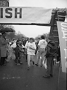 First All-Traveller Mini Marathon.    (R53)..1987..05.04.1987..04.05.1987..5th April 1987..Today saw the running of the first All-Traveller Mini Marathon in aid of Trocaire the World Aid Agency. The race was run over a 10k course in the Phoenix Park, Dublin. Bishop Eamon Casey a patron of the charity was on hand to lend support...Pictured is Kate Connors from New Ross as she crosses the finishing line to win the womens' section of the mini-marathon.