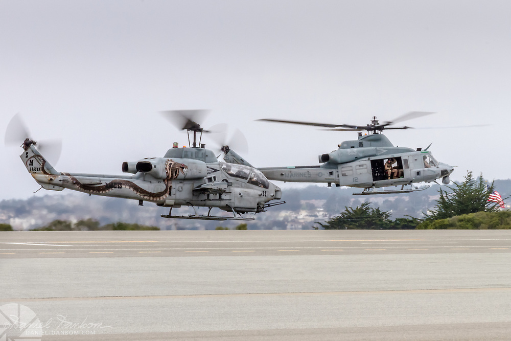 USMC UH-1 Huey Helicopter, take-off, MRY, Monterey, California