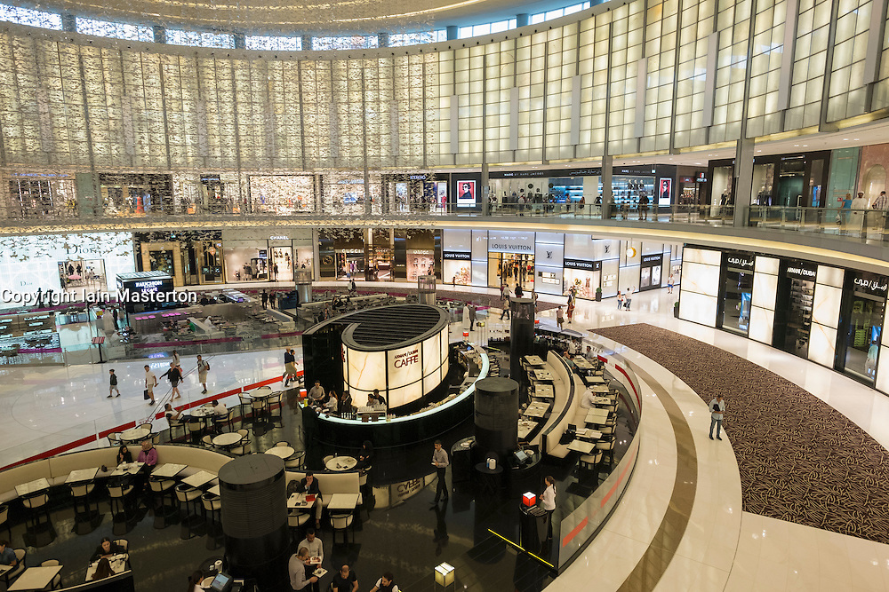 Interior of fashion Avenue atrium at Dubai Mall United Arab Emirates