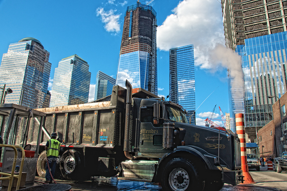 Preparations underway on the site of the 911 Memorial tribute for the tenth anniversary of the terrorist attacks on the Twin Towers of New York's World Trade Center.