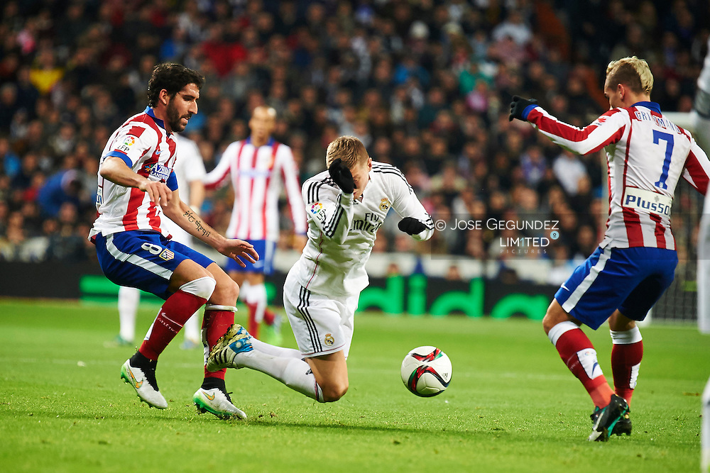 Toni Kroos during the Copa del Rey, round of 8 match between Real Madrid and Atletico de Madrid at Estadio Santiago Bernabeu on January 15, 2015 in Madrid, Spain.