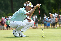 August 12, 2018 - St. Louis, Missouri, U.S. - ST. LOUIS, MO - AUGUST 12: Ian Poulter lines up his putt on the #1 green during the final round of the PGA Championship on August 12, 2018, at Bellerive Country Club, St. Louis, MO.  (Photo by Keith Gillett/Icon Sportswire) (Credit Image: © Keith Gillett/Icon SMI via ZUMA Press)