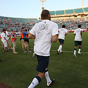 USA players enter the pitch prior to an international friendly soccer match between Scotland and the United States at EverBank Field on Saturday, May 26, 2012 in Jacksonville, Florida.  The United States won the match 5-1 in front of 44,000 fans. (AP Photo/Alex Menendez)