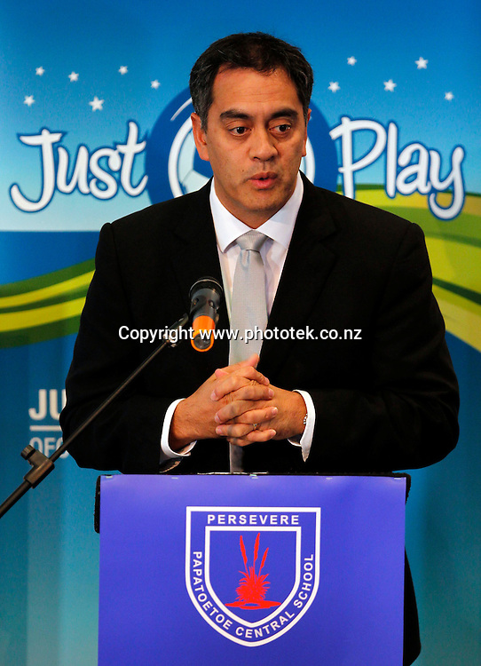 Oceania Football Confederation General Secretary Tai Nicholas. Football, Media conference for the launch of Just Play - Active and Healthy for Life, an Oceania Football Confederation initiative to be introduced across Manukau in partnership with John Walker Find Your Field of Dreams Foundation. Papatoetoe Central School, Papatoetoe, Wednesday 5th May 2010. Photo: Shane Wenzlick/PHOTOSPORT