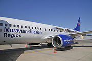 "Travel Service Airlines (Czech Republic) Boeing 737-800 painted in ""Moravian-Silesian Region"" special colours OK-TVO. Photographed at Ben Gurion International Airport, Israel"