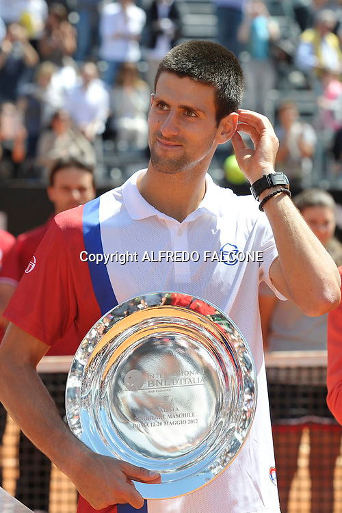 Foto Alfredo Falcone - LaPresse<br /> 21/05/2012 Roma ( Italia)<br /> Sport Tennis<br /> Novak Djocovic (SRB) - Rafael Nadal (ESP)<br /> Internazionali BNL d'Italia 2012<br /> Nella foto:Novak Djocovic<br /> Novak Djocovic (SRB) - Rafael Nadal (ESP)<br /> Photo Alfredo Falcone - LaPresse<br /> 21/05/2012 Roma (Italy)<br /> Sport Tennis<br /> Internazionali BNL d'Italia 2012<br /> In the pic:Novak Djocovic