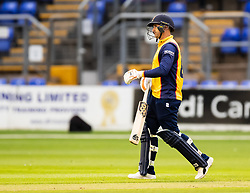 Cameron Delport of Essex looks dejected after getting out<br /> <br /> Photographer Simon King/Replay Images<br /> <br /> Vitality Blast T20 - Round 8 - Glamorgan v Essex - Friday 9th August 2019 - Sophia Gardens - Cardiff<br /> <br /> World Copyright © Replay Images . All rights reserved. info@replayimages.co.uk - http://replayimages.co.uk