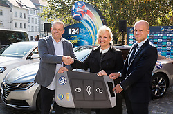 Aleks Stolfa, tournament director, Sabrina Pecelin, Head of PR of Porsche Slovenija  and Tobias Frike of Volkswagen car company during presentation of VW Volkswagen as an official mobility partner of Futsal EURO 2018 in Ljubljana, Slovenia, on September 28, 2017. Photo by Vid Ponikvar / Sportida