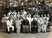 restaurant workers with owner in group portrait Japan 1930s