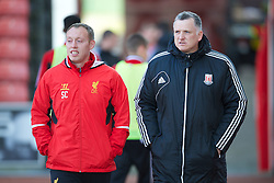 STOKE-ON-TRENT, ENGLAND - Wednesday, May 1, 2013: Liverpool's Academy coach Steve Cooper during the Premier League Academy match against Stoke City at the Britannia Stadium. (Pic by David Rawcliffe/Propaganda)