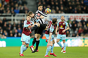 Mikel Merino (#23) of Newcastle United wins the header ahead of teammate Paul Dummett (#3) of Newcastle Unitedduring the Premier League match between Newcastle United and Burnley at St. James's Park, Newcastle, England on 31 January 2018. Photo by Craig Doyle.
