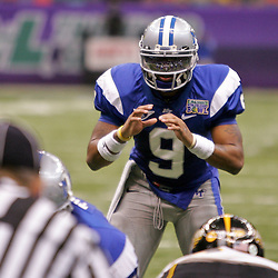 Dec 20, 2009; New Orleans, LA, USA; Middle Tennessee State Blue Raiders quarterback Dwight Dasher (9) under center during the second half of the 2009 New Orleans Bowl at the Louisiana Superdome. Middle Tennessee State defeated Southern Miss 42-32. Mandatory Credit: Derick E. Hingle-US PRESSWIRE